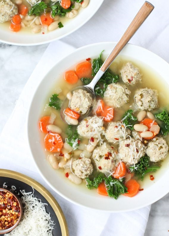Four amazing kale soup recipes: Skinny Meatball Kale Soup from foodiecrush.com