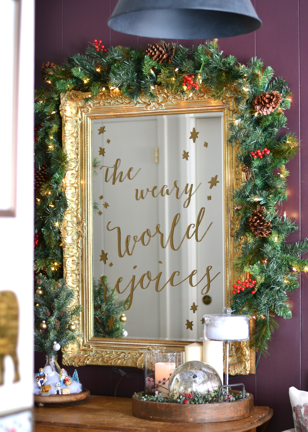 DIY Christmas sign on a mirror! Great idea from boxwoodavenue.com