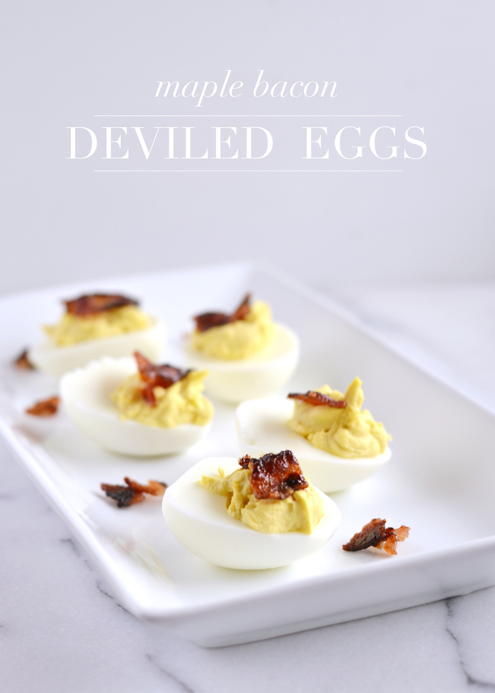 Delicious maple syrup deviled eggs, perfect for Easter or game day!  From boxwoodavenue.com