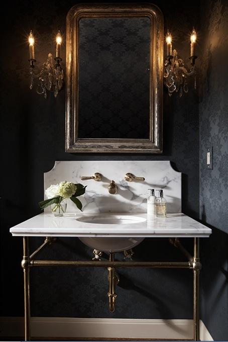 Dark wallpaper in bathroom | Ashley Goforth Design
