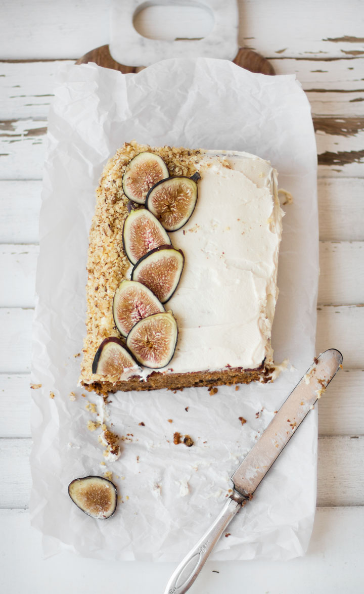 Fig carrot cake with cream cheese frosting from The Blondielocks