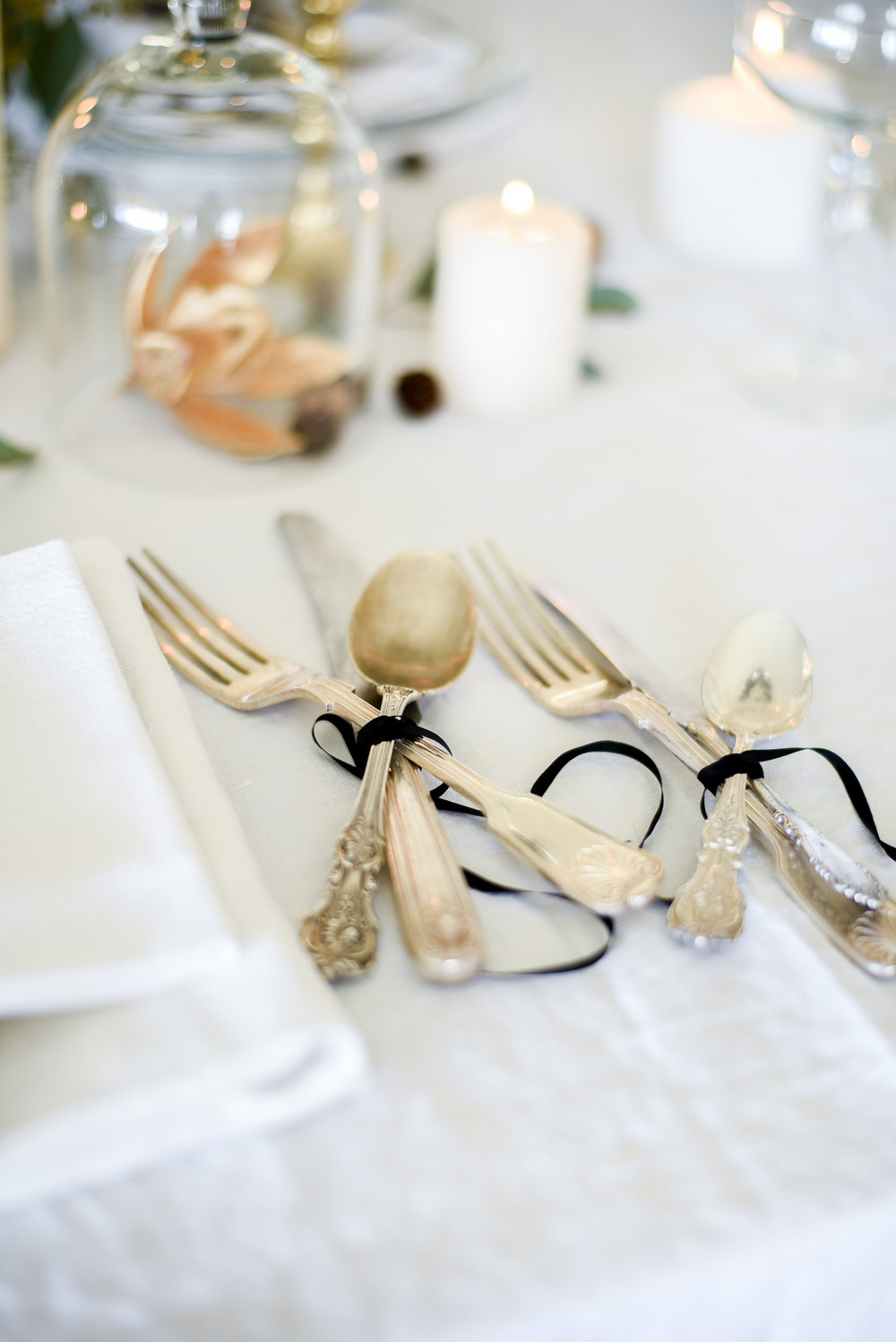 Vintage silver utensils on holiday tablescape - boxwoodavenue.com