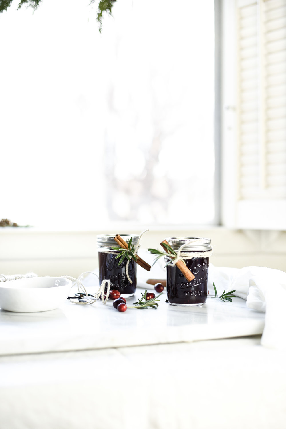 Homemade Spiced Cranberry Jam Preserves with Rosemary and Cinnamon