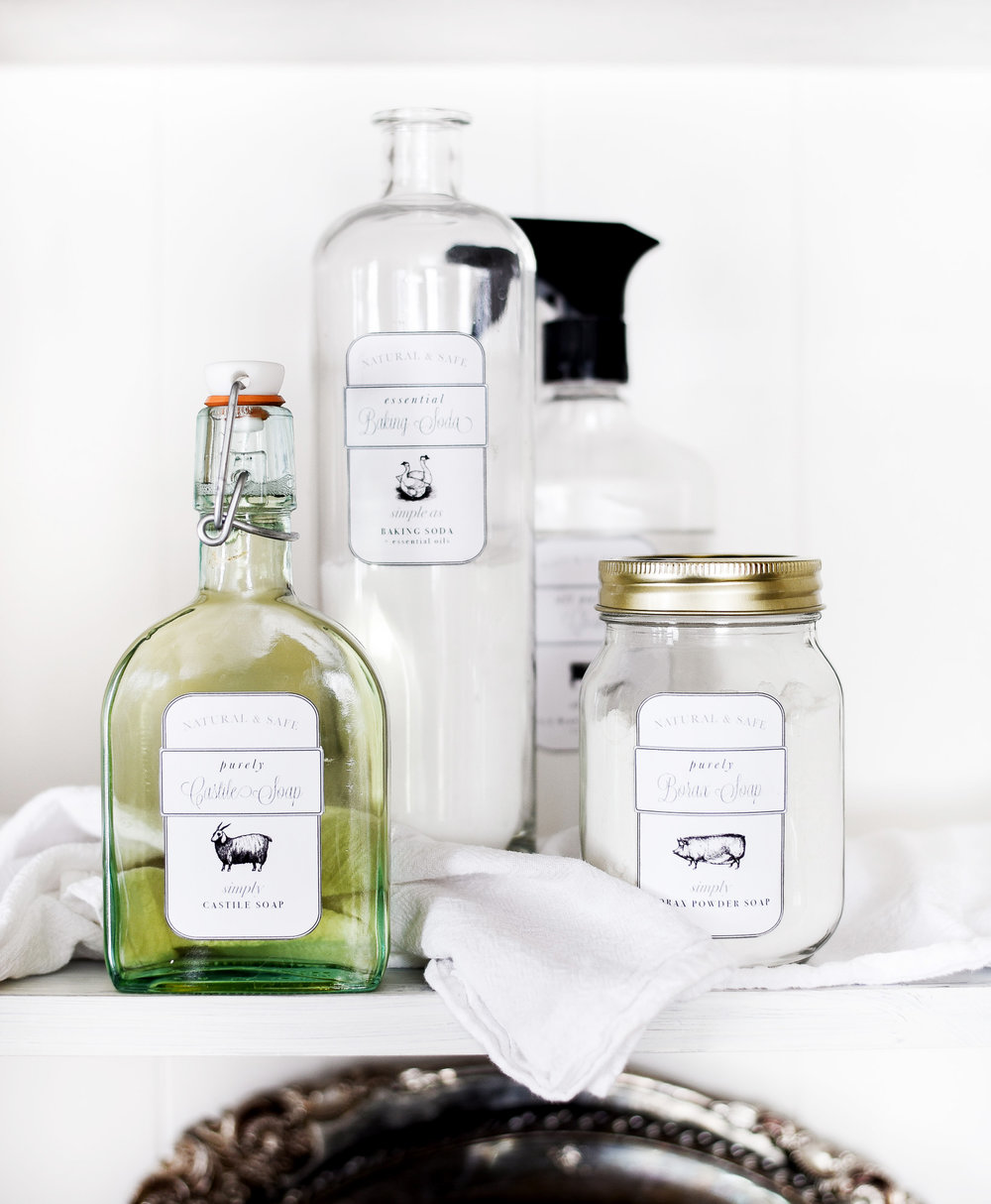 Make your own cheap and safe cleaning products with labels from boxwoodavenue.com