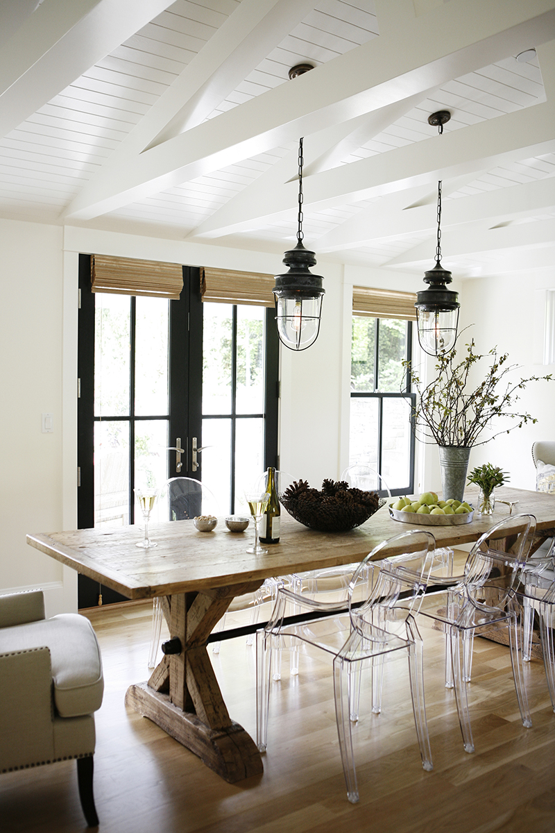 h2 Design and Build's modern farmhouse with black french doors