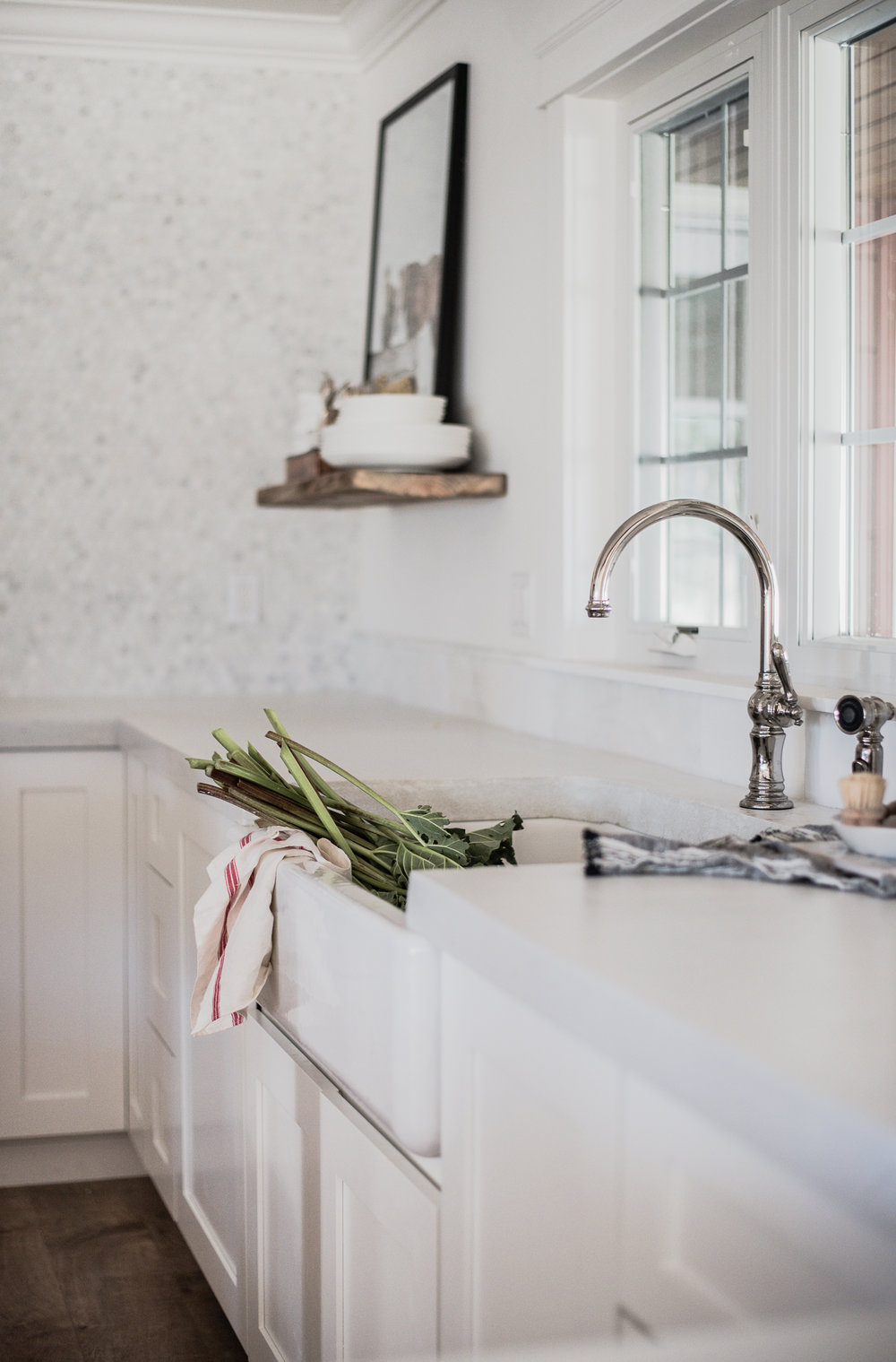 White Concrete Countertops in White Farmhouse Kitchen | boxwoodavenue.com