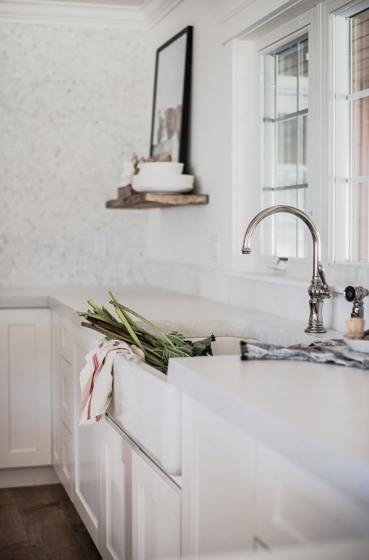 White concrete countertops in white farmhouse kitchen boxwoodavenue com