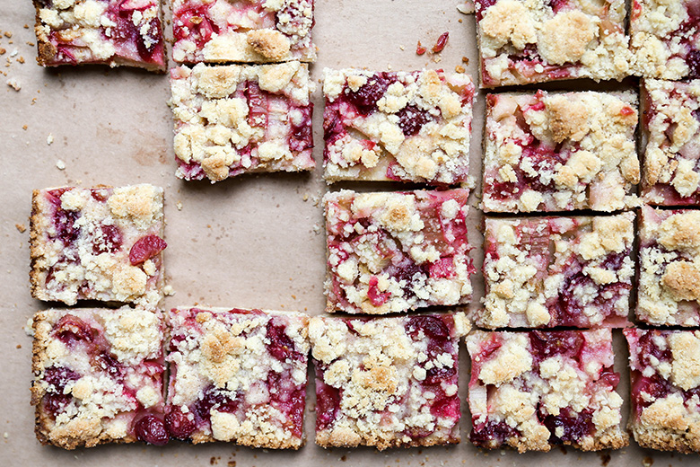 CHERRY RHUBARB PIE BARS