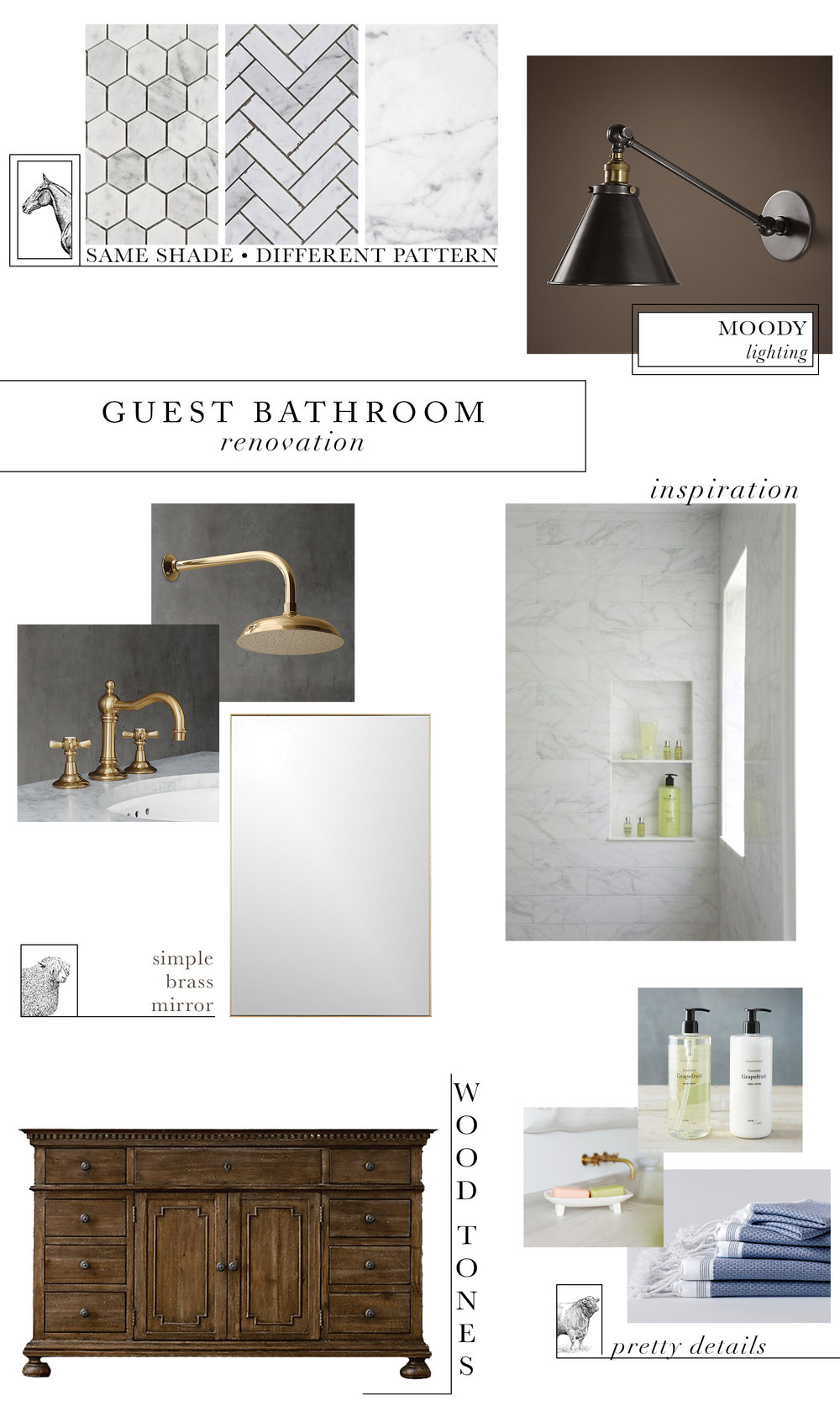 Guest Bathroom Renovation | Wood Marble & Brass | boxwoodavenue.com