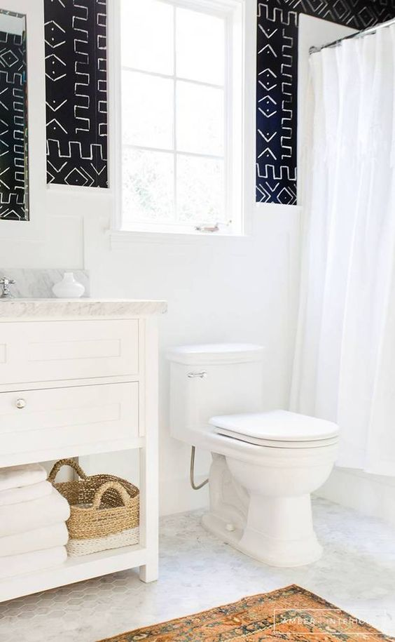 Two Tone Bathroom Paneling | Amber Interiors | http://amberinteriordesign.com