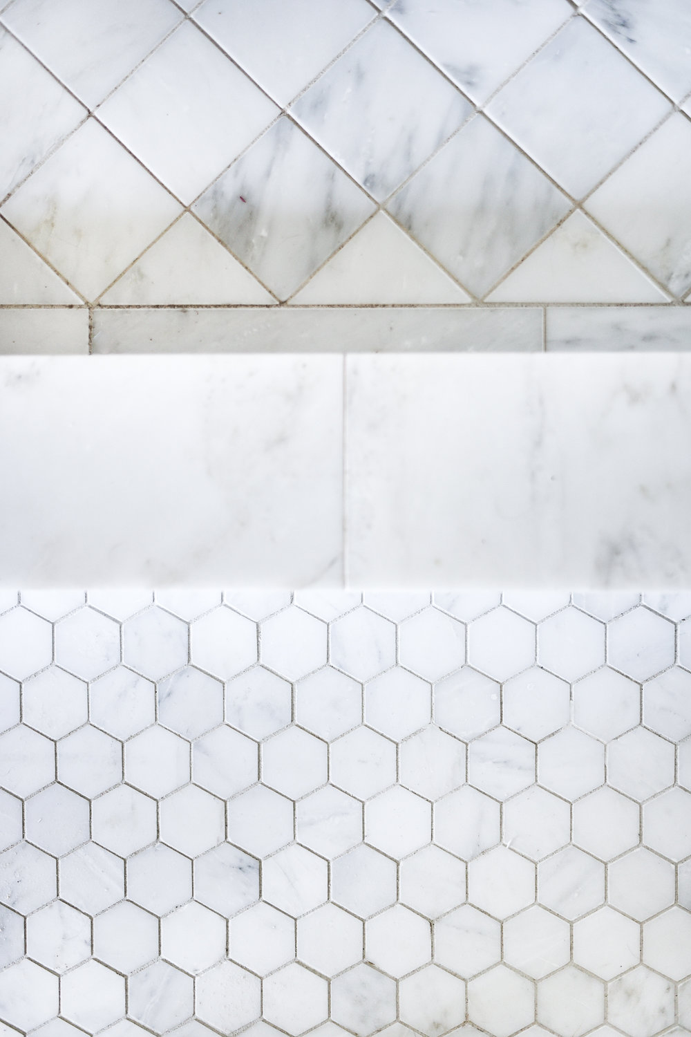 Hexagon Marble with Diamond Shower Floor | boxwoodavenue.com