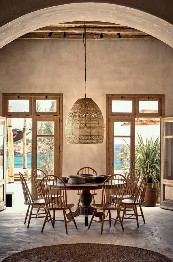 Woven Dining Room {scorpiosmykonos.com}