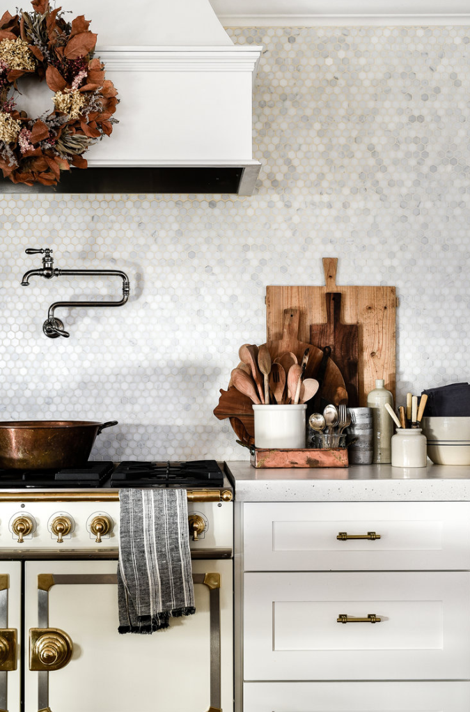 our kitchen - With concrete countertops and a French range, I hope you will be inspired by our modern farmhouse kitchen!