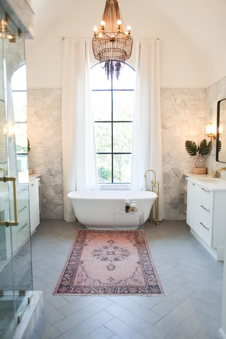 Pink & marble bathroom by Olivia Carswell Interiors