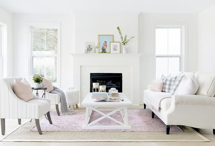 Layered Pink & Neutral living room design by Briah Hammel Interiors