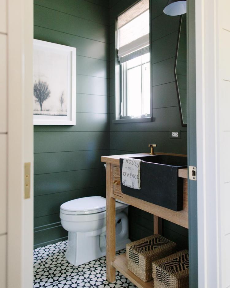 Green shiplap bathroom from Kate Marker Interiors