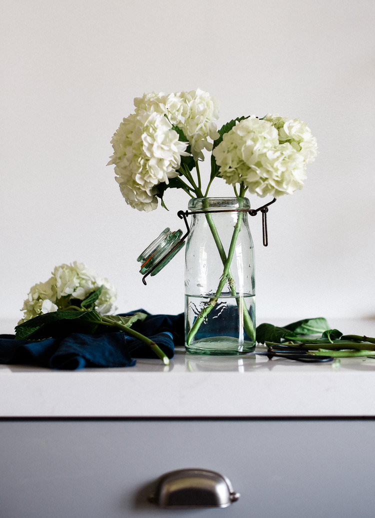 Vintage #French #MasonJar with #Hydrangeas | boxwoodavenue.com