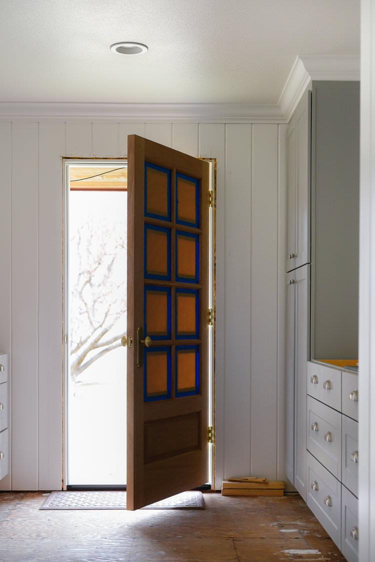 Mahogany Wood 8 Lite Door Laundry Room | boxwoodavenue.com