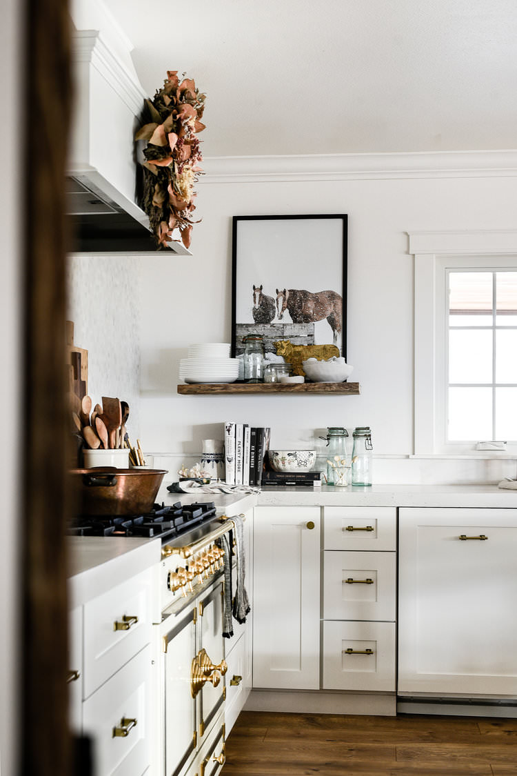 White Farmhouse Kitchen with Shaker Cabinets French Farmhouse Kitchen | boxwoodavenue.com