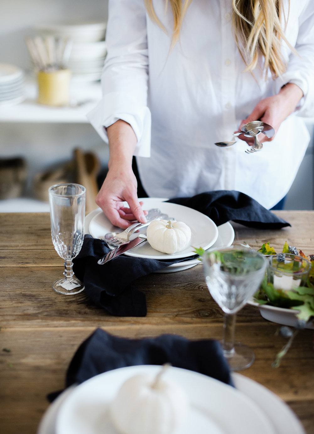 A collected table. - Mix & match glassware, flatware, and plates for a collected table.Simply keep the general shape and size similar so that there is a single thread that ties the table together!