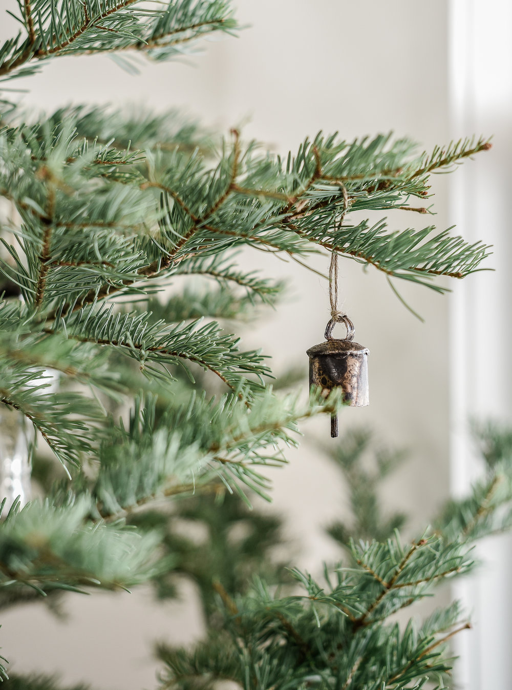 Beautiful farmhouse Christmas decor with Vintage Christmas Decorations on minimal live tree from boxwoodavenue.com | #farmhousechristmas #christmasdecorating
