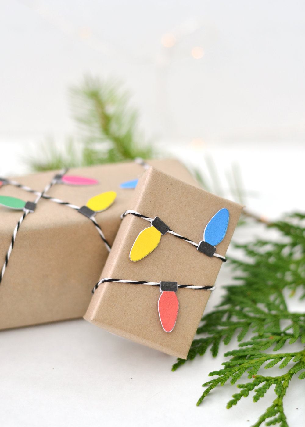 Mini Christmas light wrapping paper DIY wrapping ideas with Cricut | boxwoodavenue.com