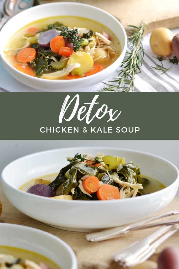 Delicious detox soup packed with kale, carrots, and lean chicken! Your family will love this weeknight meal! boxwoodavenue.com #dinnerideas #detoxsoup
