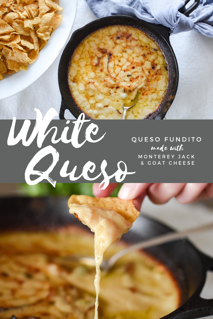 The best white queso dip made with monterey jack and goat cheese | queso fundito recipe for a crowd | #appetizers #quesofundito #whitequesodip