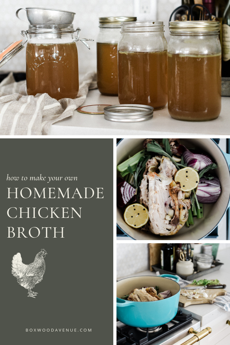 Tips for making your own homemade chicken broth or stock! Frugal living tips for homesteading and simple living. boxwoodavenue.com #souprecipes #frugalliving #homesteading