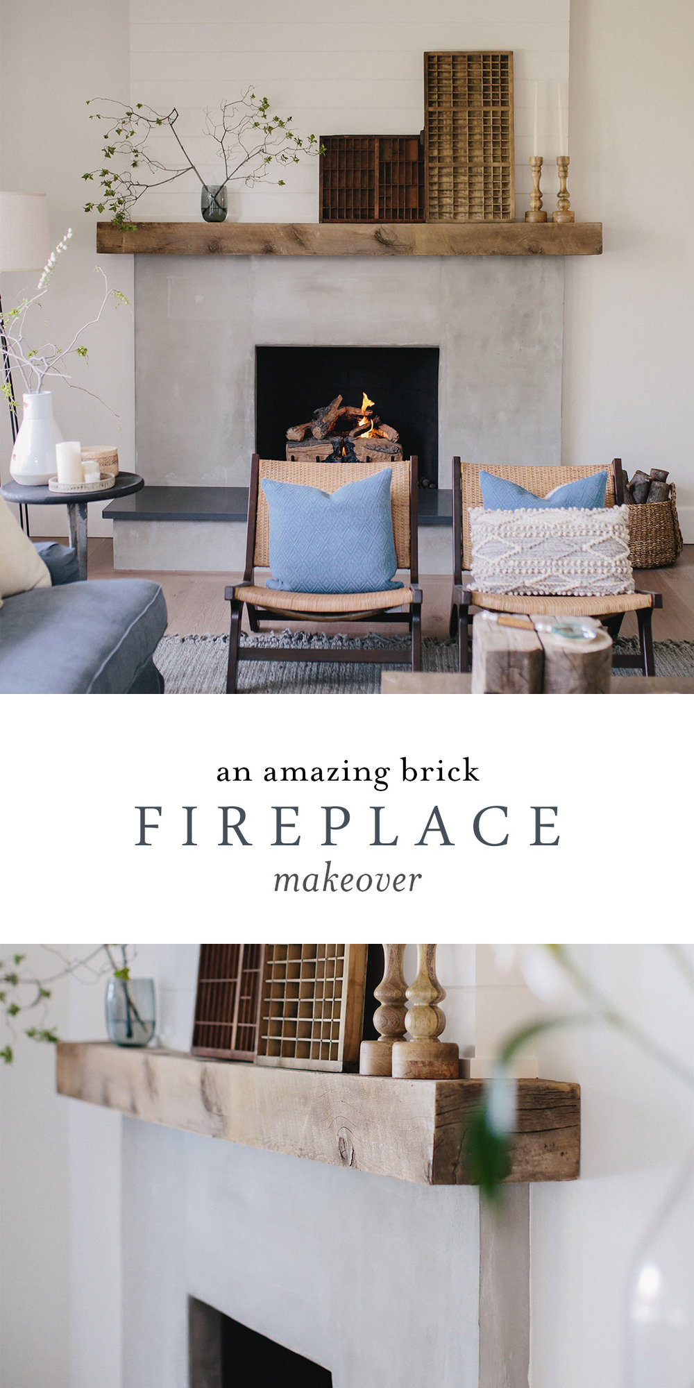 A beautiful brick fireplace makeover using cement. This contemporary fireplace is the perfect way to update a brick fireplace! Reno, Nevada interior design and remodel boxwoodavenue.com #fireplacemakeover #fireplaceupdate #brickfireplace