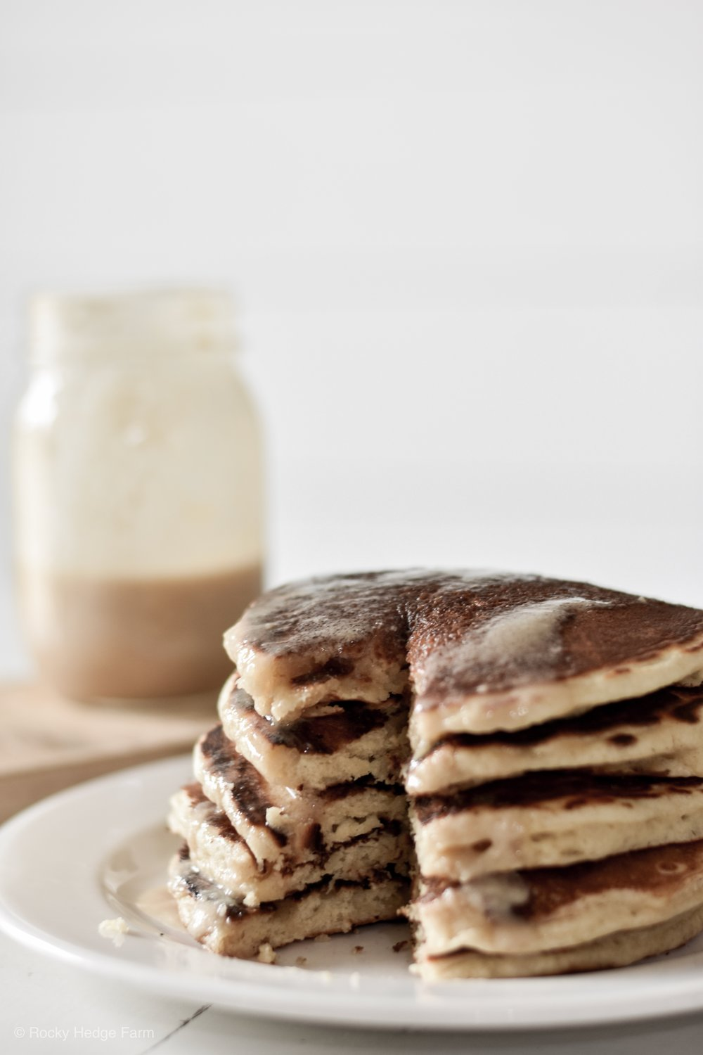 Delicious Sourdough pancakes! Fluffy Sunday morning pancakes made with sourdough from Rocky Hedge Farm. #fromscratch #pancakes #sourdoughrecipe