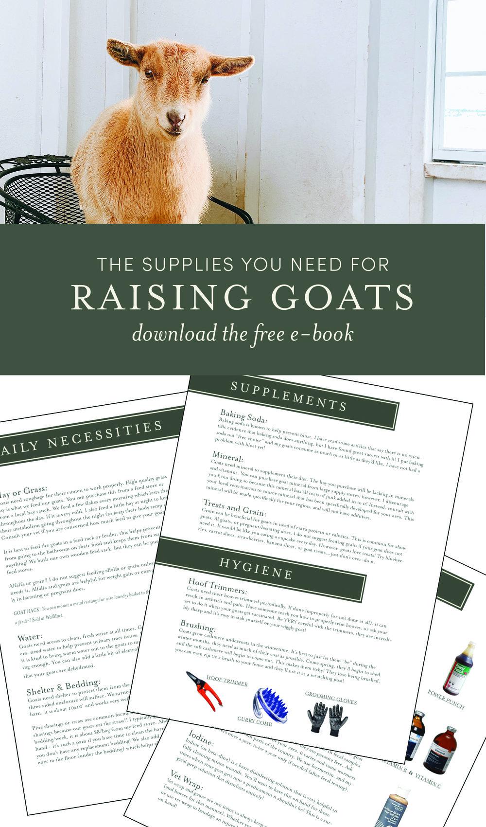 Raising Goats - helpful supplies for raising goats! A free e-book for raising goats! boxwoodavenue.com #homesteading #raisinggoats