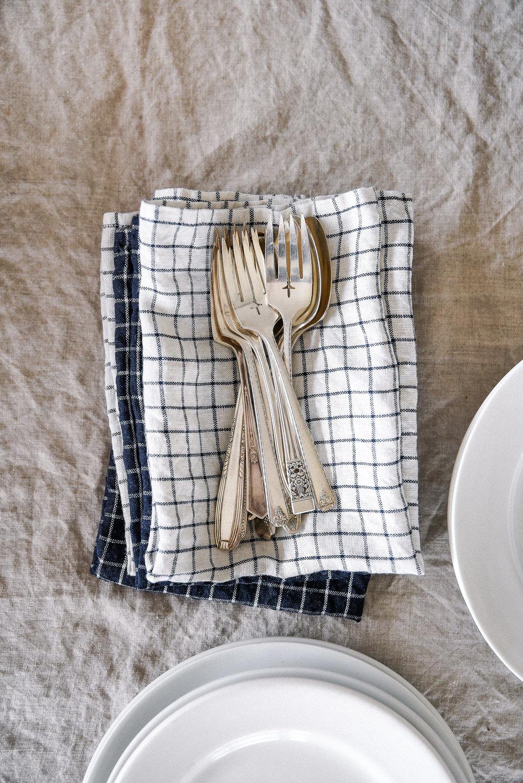 Easter Table Linens checker print linen napkins boxwoodavenue.com