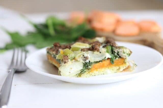 A healthy Easter breakfast idea: sweet potato casserole! #easterbreakfast #easterrecipes #breakfastcasserole