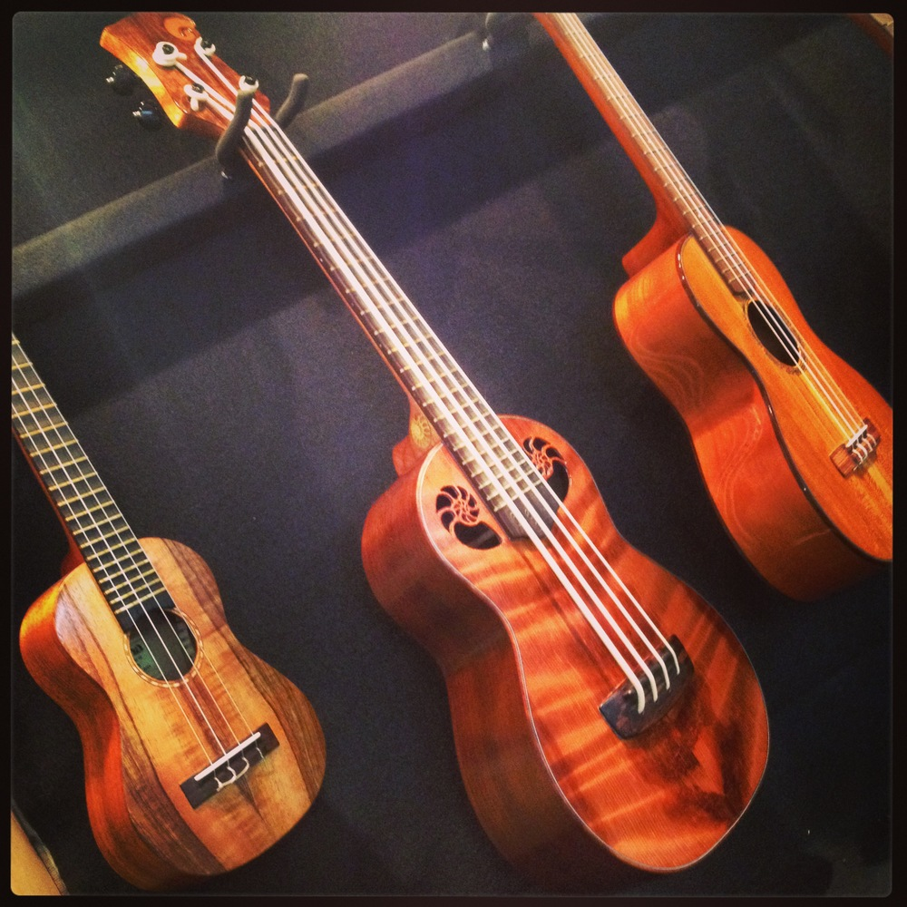 Oceana Ukulele Bass with Nautilus sound holes and a Ammonite fossil inlayed on the heel.