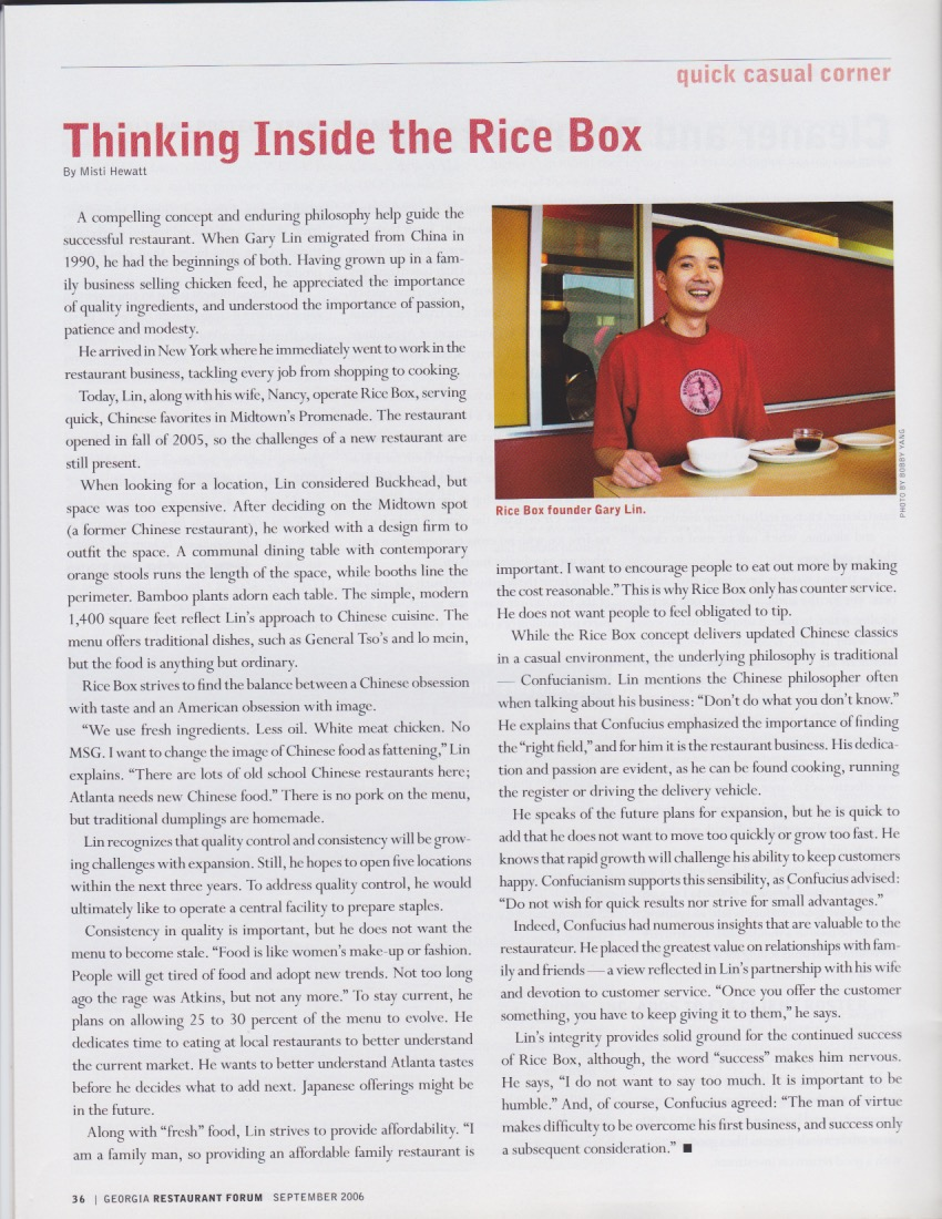 Thinking Inside the Rice Box - Restaurant Forum, September 2006