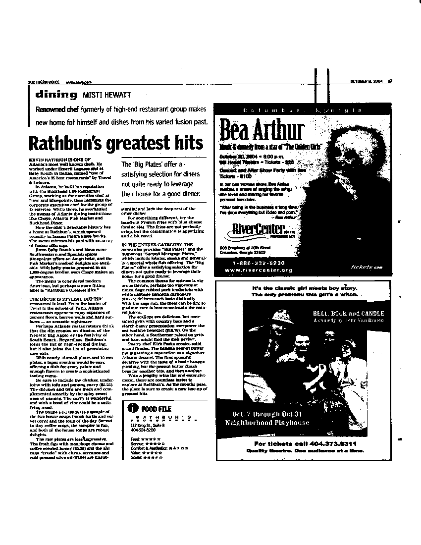 Restaurant Review, Rathbun's - Southern Voice, October 2004