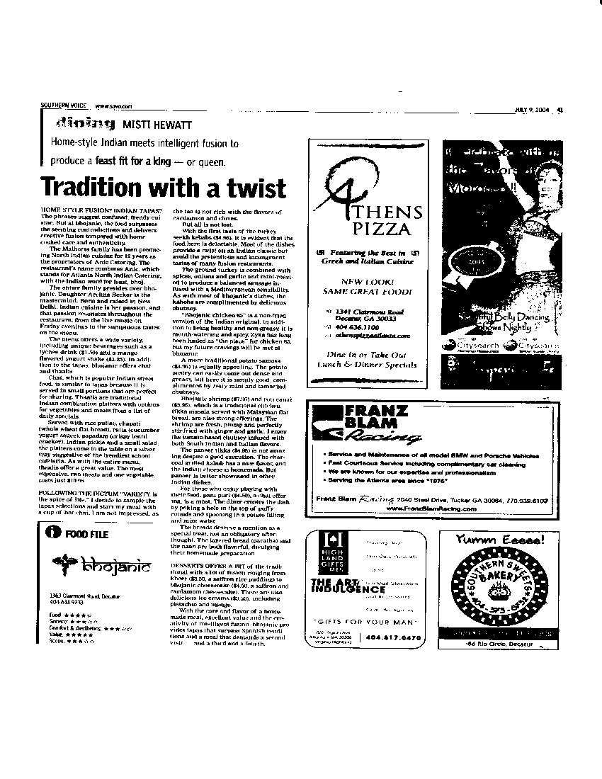 Restaurant Review, bhojanic - Southern Voice, July 2004