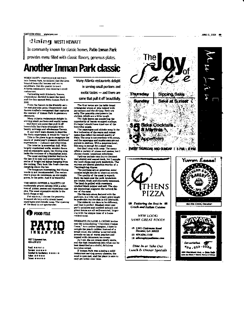 Restaurant Review, Patio Inman Park - Southern Voice, June 2004