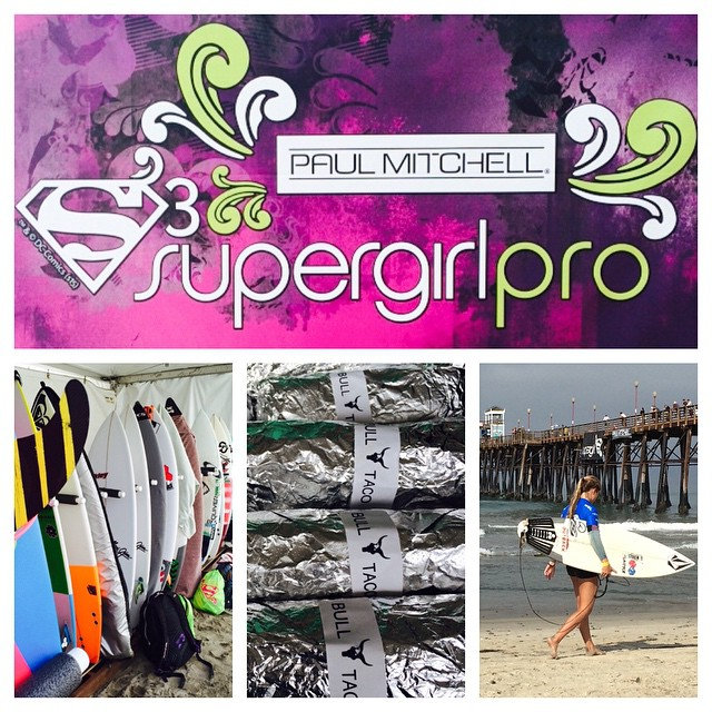 @bulltaco serving up #breakfastburritos @supergirlpro in #oceanside at the pier. Come out this weekend and cheers them on! #SupergirlPro #SportYourStyle @PaulMitchellUS