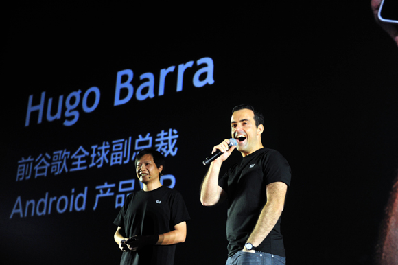 Xiaomi CEO, Lei Jun (left) and Hugo Barra (right)