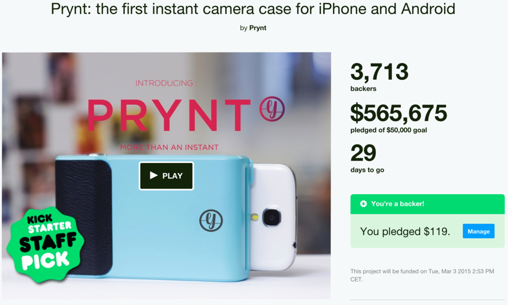 Prynt's ongoing Kickstarter campaign is a smash (Screenshot taken on Feb. 2nd, 2015)