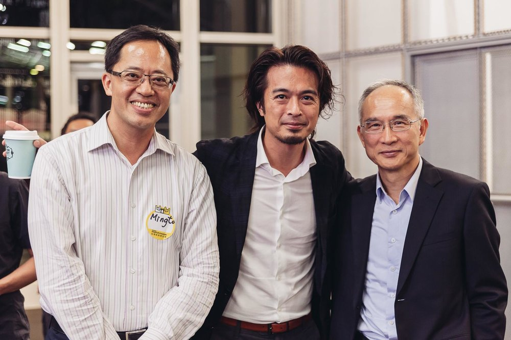 Photo taken at HardTalk Taipei in May 2016 From left to right: Ming-To YU (Xiaomi, Jerry YANG (Hardware Club) and Fang-Ming LU (Foxconn)