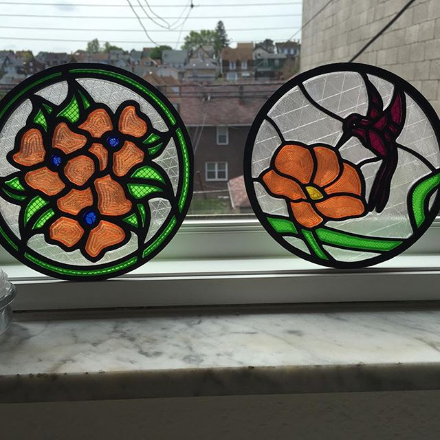 "3D Printed ""stained glass"" these were printed individually and assembled together as a kit sorta deal. #technology  #pittsburgh #naples #stainedglass #colorful"