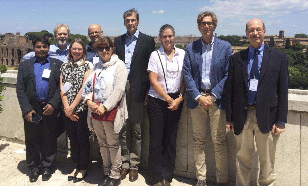 Steering Committee and Joint Facilitation Unit members at the 28-May meeting in Rome. Front row (from left to right): Rajeev Varshney, Ruth Bastow, Elizabeth Arnaud,  Susan McCouch, Daniele Manzella, Peter Bretting . Back row (from left to right): David Marshall, Peter Wenzl, Andreas Graner.