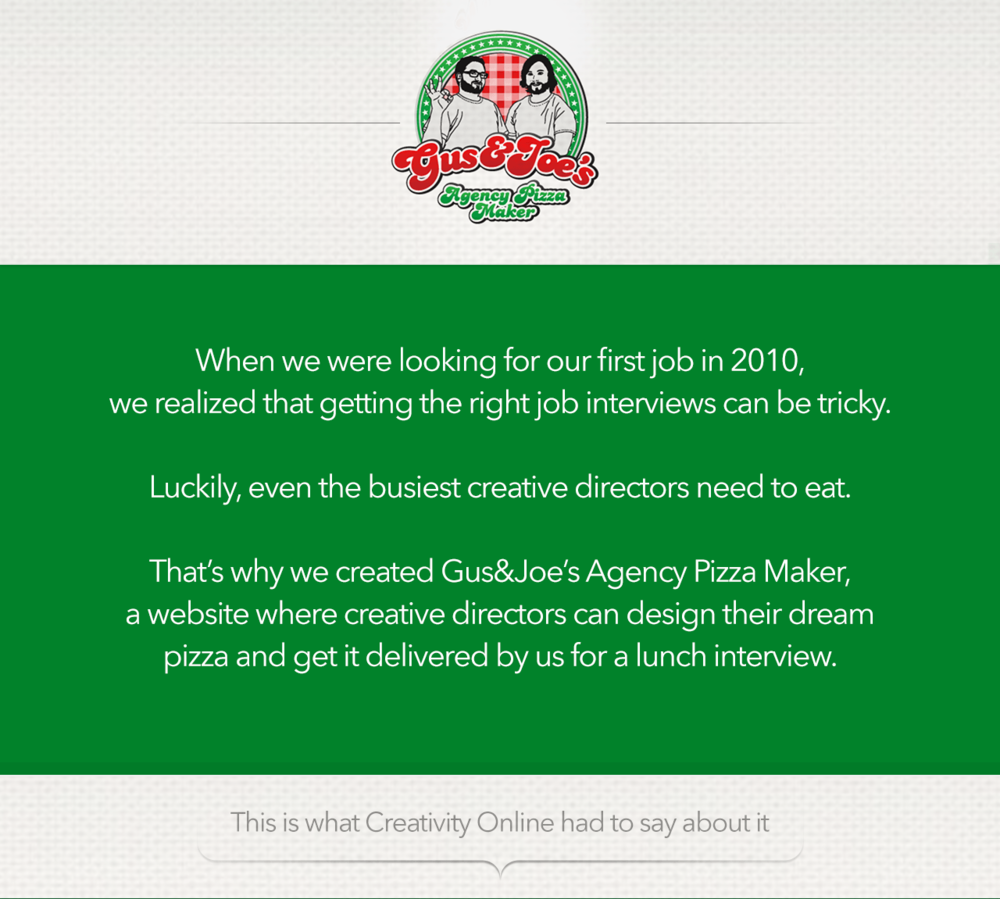 Gus&Joe's Agency Pizza Maker — Gus&Joe