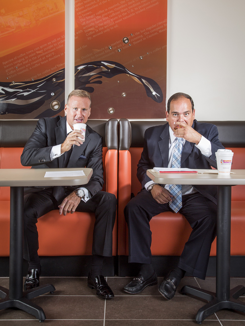 Gary Joyal and Mark Cafua, Dunkin Donuts Franchise Kings photographed for Boston Globe Magazine.