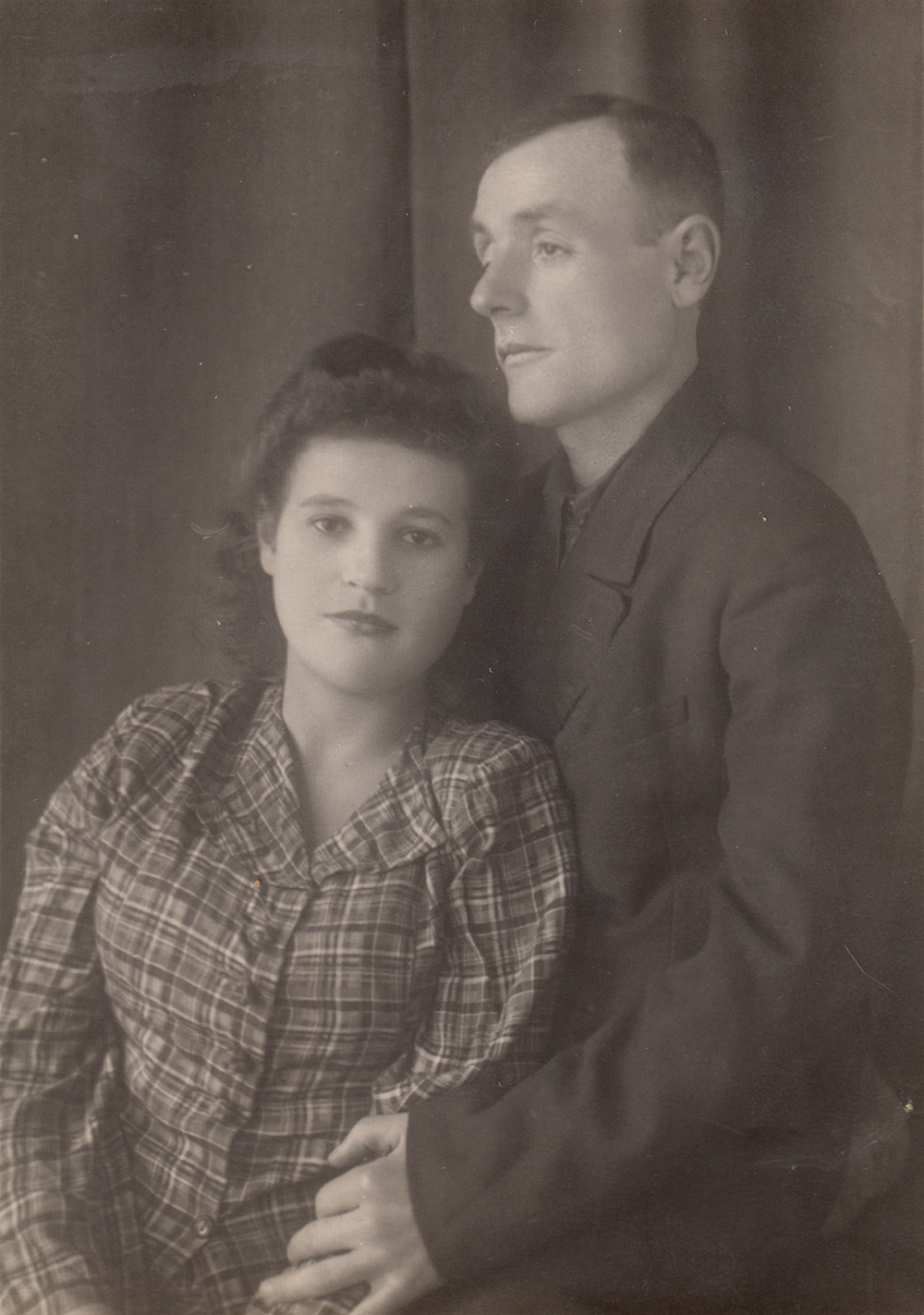 Photograph of Asya and Mikhail, sent to Mikhail's sister Tsilya on January 31, 1949. Tsilya passed away later that year, and Asya and Mikhail adopted her surviving son.