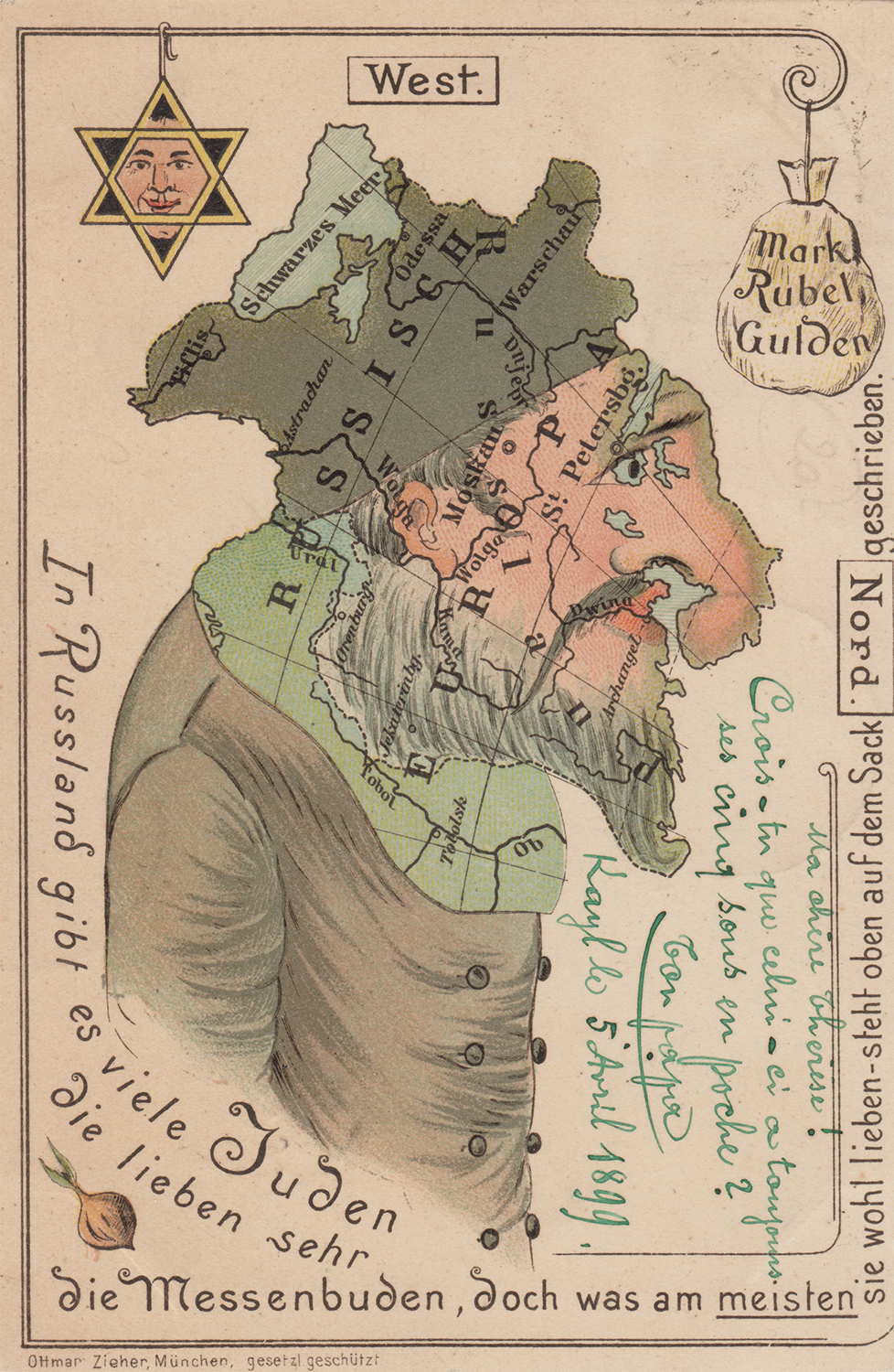 Anti-Semitic postcard emphasizing Jewish greed for money and power. 1899.