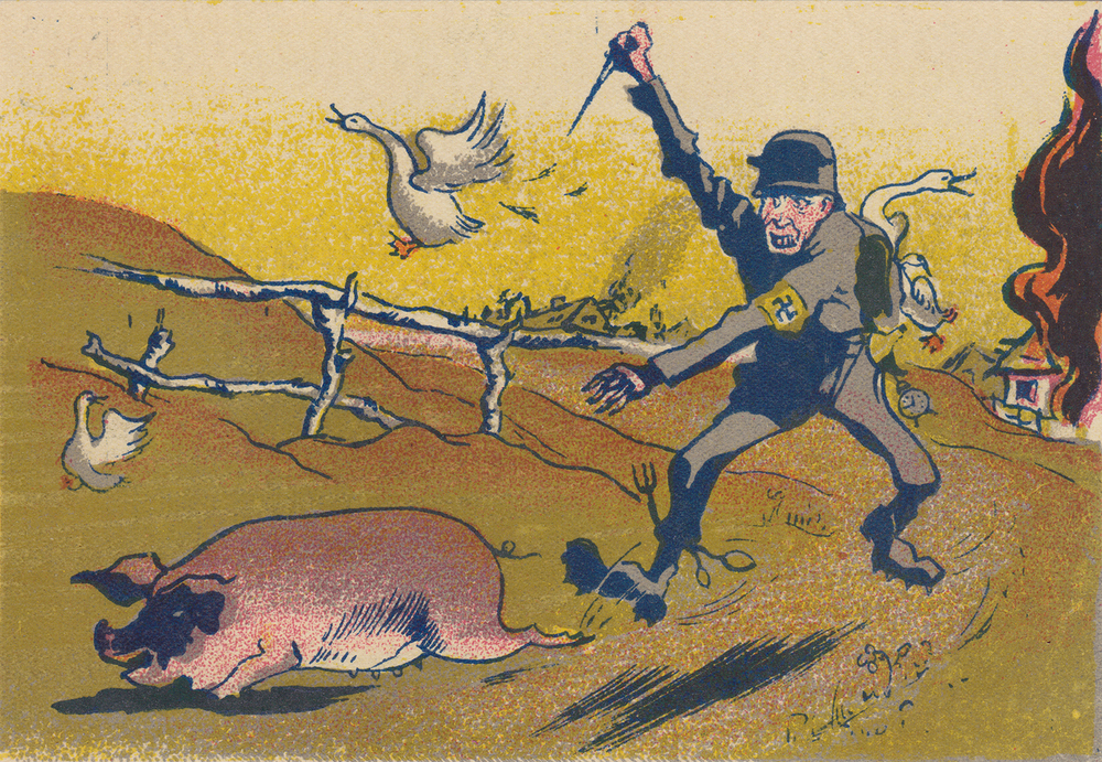 The hungry German. Artist V. Nikolaev. Postcard.